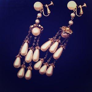 Gold Faux Pearl Rhinestone Statement Earrings